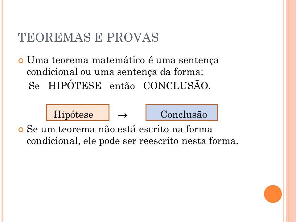 TEOREMAS E PROVAS Uma teorema matemático é uma sentença condicional ou uma sentença da forma: Se HIPÓTESE então CONCLUSÃO.