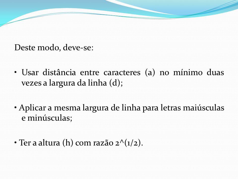 Deste modo, deve-se: • Usar distância entre caracteres (a) no mínimo duas vezes a largura da linha (d); • Aplicar a mesma largura de linha para letras maiúsculas e minúsculas; • Ter a altura (h) com razão 2^(1/2).