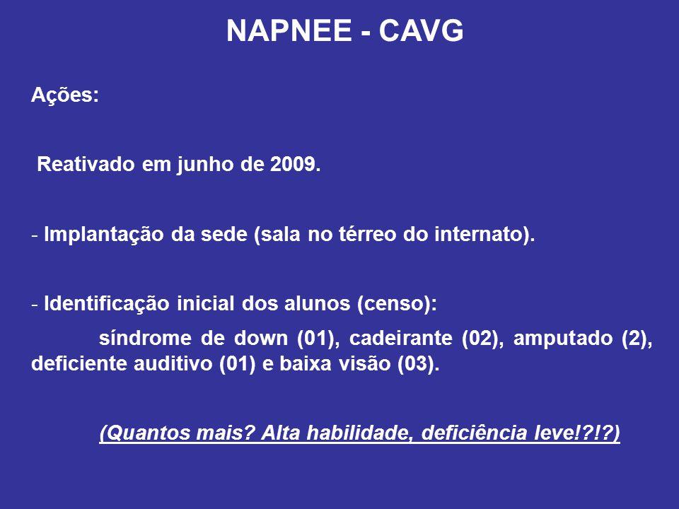 NAPNEE - CAVG Ações: Reativado em junho de 2009.