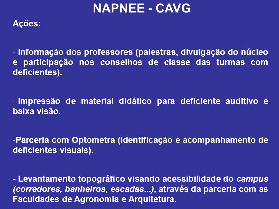 NAPNEE - CAVG Ações: Informação dos professores (palestras, divulgação do núcleo e participação nos conselhos de classe das turmas com deficientes).