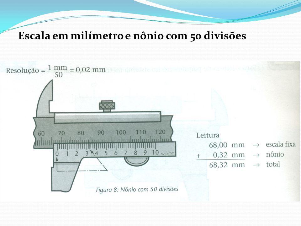 Escala em milímetro e nônio com 50 divisões