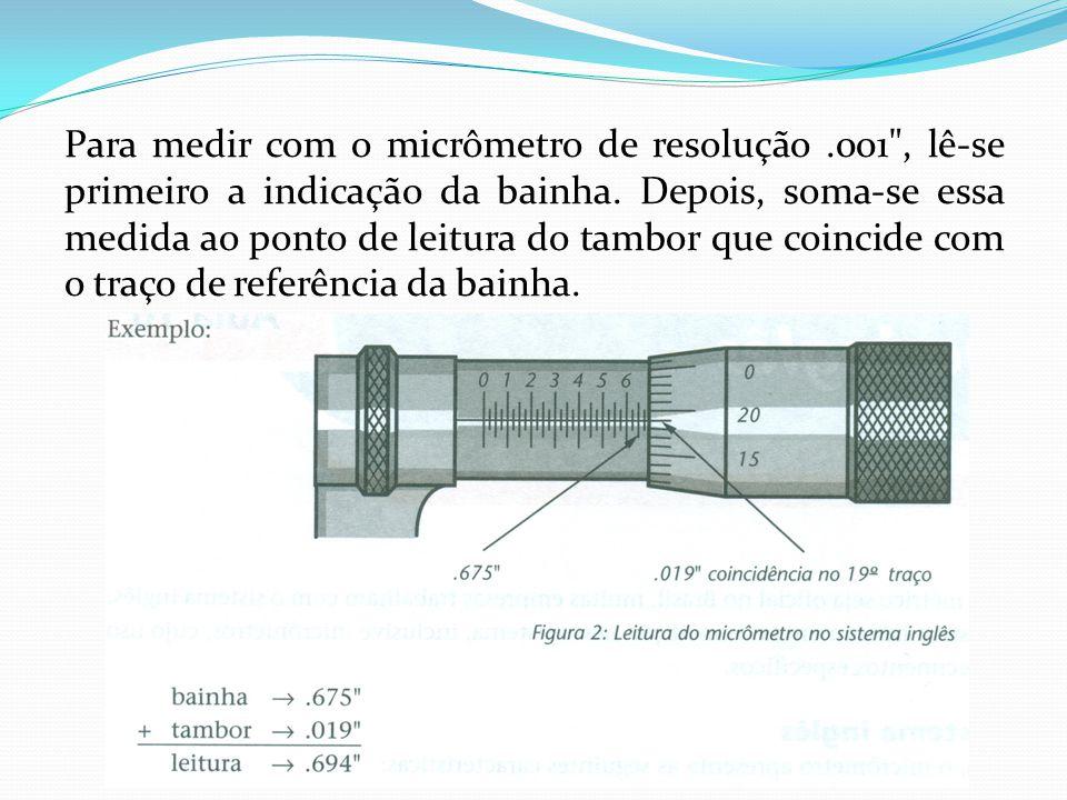 Para medir com o micrômetro de resolução