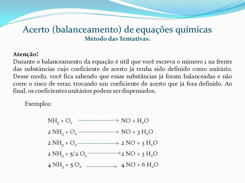 Acerto (balanceamento) de equações químicas