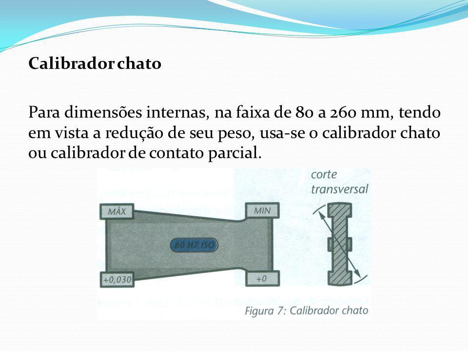 Calibrador chato Para dimensões internas, na faixa de 80 a 260 mm, tendo em vista a redução de seu peso, usa-se o calibrador chato ou calibrador de contato parcial.