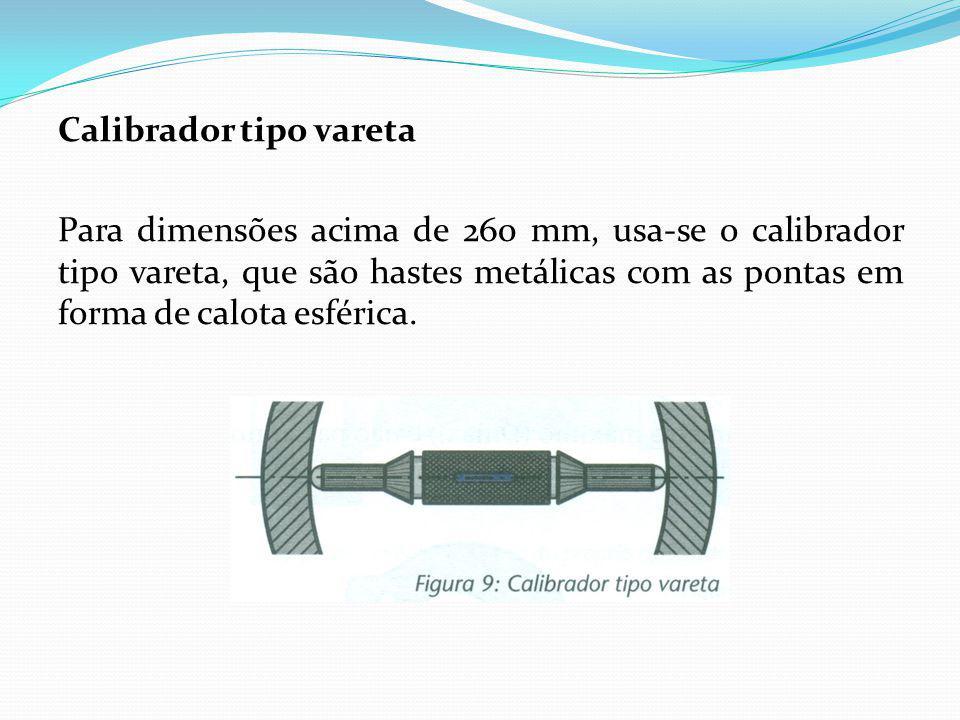 Calibrador tipo vareta Para dimensões acima de 260 mm, usa-se o calibrador tipo vareta, que são hastes metálicas com as pontas em forma de calota esférica.