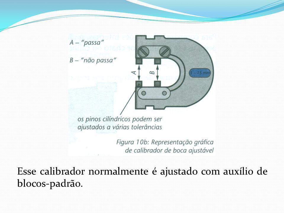 Esse calibrador normalmente é ajustado com auxílio de blocos-padrão.