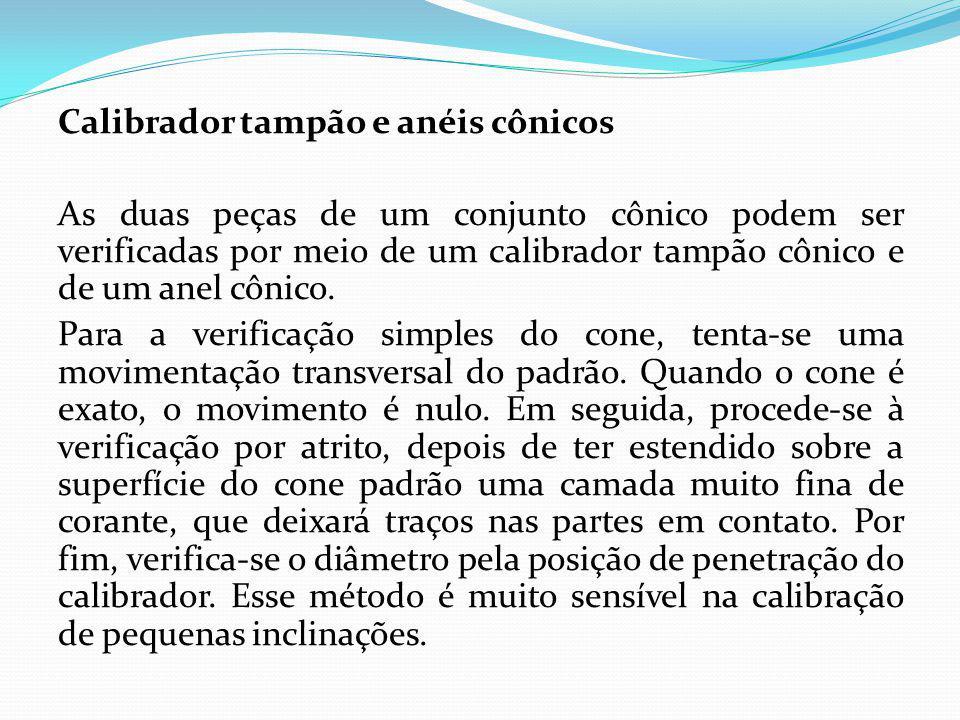 Calibrador tampão e anéis cônicos As duas peças de um conjunto cônico podem ser verificadas por meio de um calibrador tampão cônico e de um anel cônico.