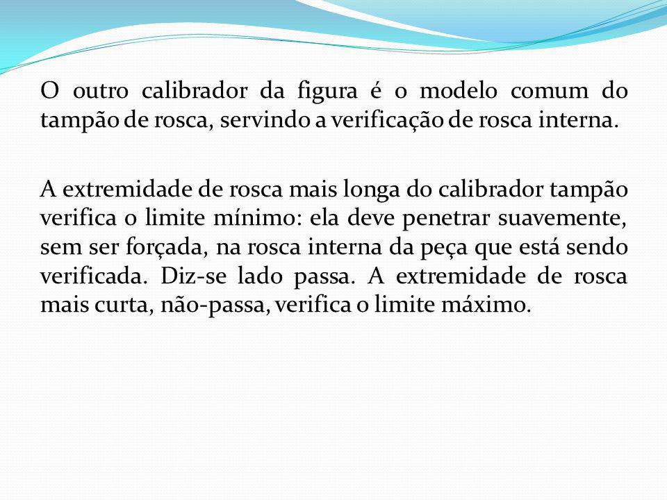 O outro calibrador da figura é o modelo comum do tampão de rosca, servindo a verificação de rosca interna.