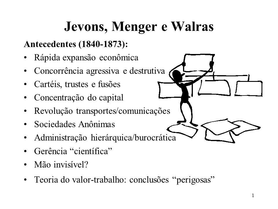 Jevons, Menger e Walras Antecedentes (1840-1873):