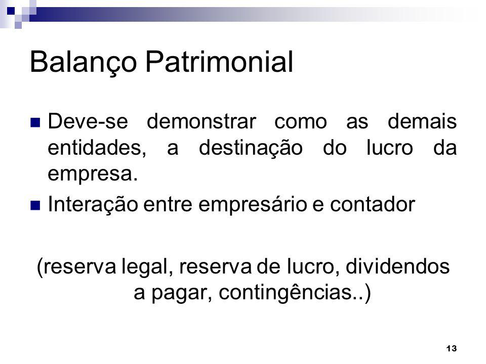 (reserva legal, reserva de lucro, dividendos a pagar, contingências..)