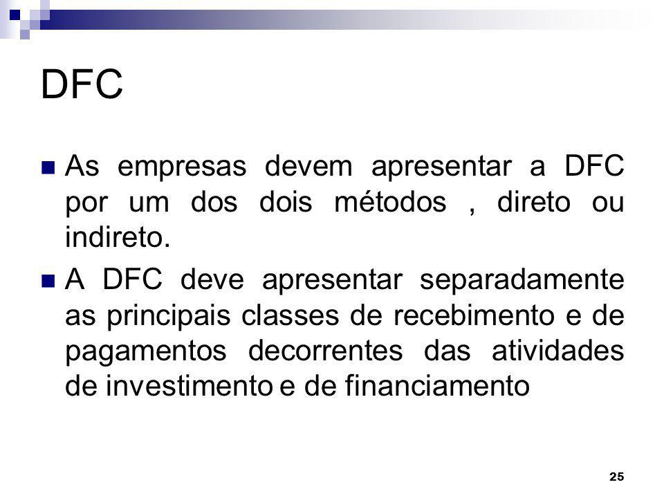 DFC As empresas devem apresentar a DFC por um dos dois métodos , direto ou indireto.