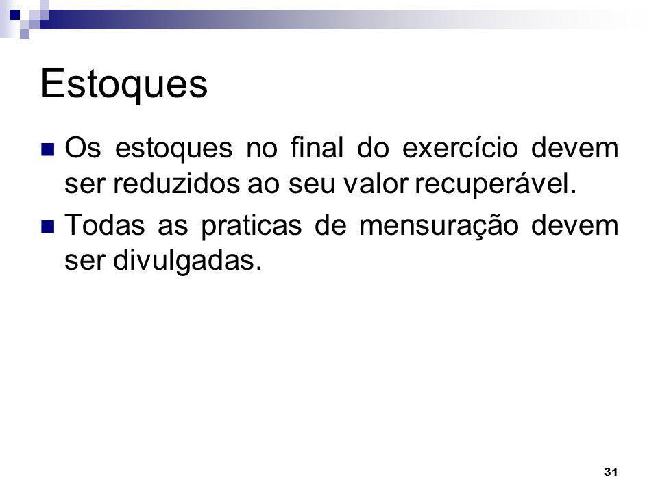 Estoques Os estoques no final do exercício devem ser reduzidos ao seu valor recuperável.