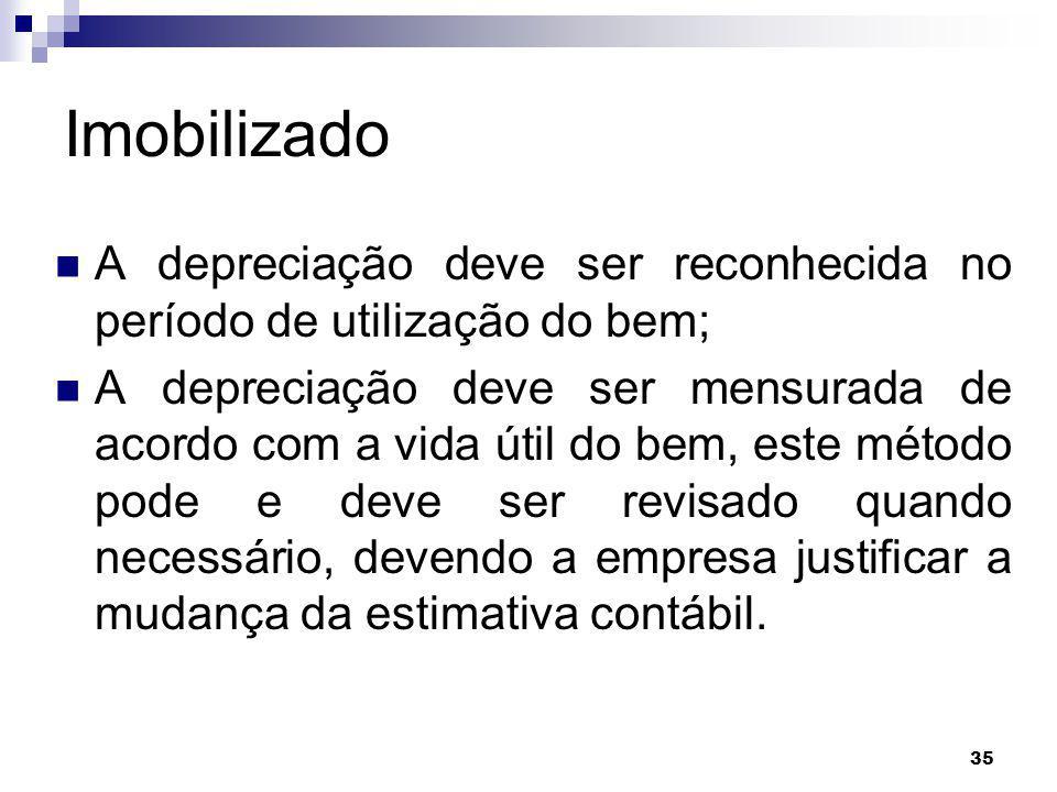 Imobilizado A depreciação deve ser reconhecida no período de utilização do bem;