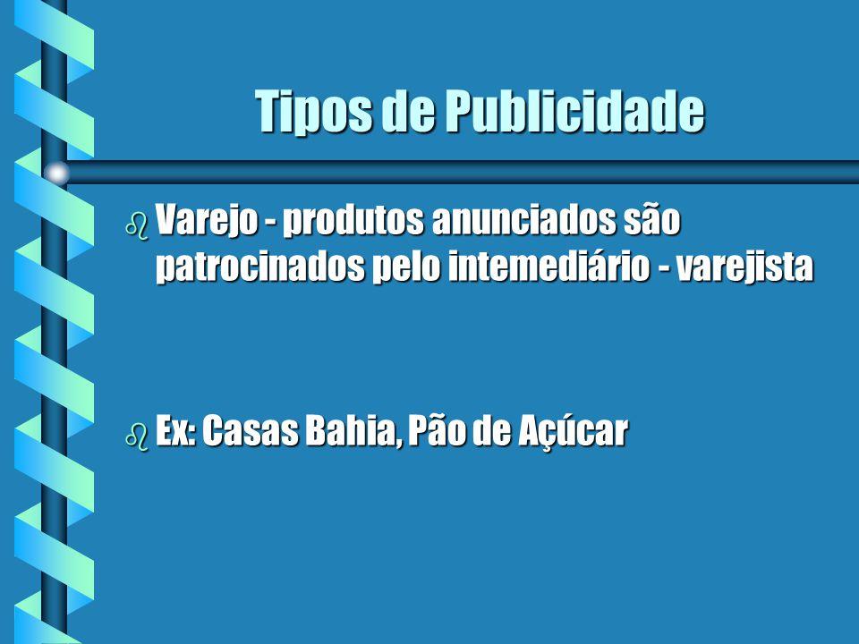 Tipos de Publicidade Varejo - produtos anunciados são patrocinados pelo intemediário - varejista.