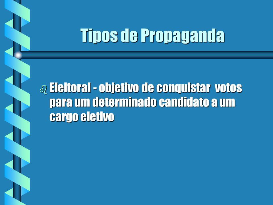 Tipos de Propaganda Eleitoral - objetivo de conquistar votos para um determinado candidato a um cargo eletivo.