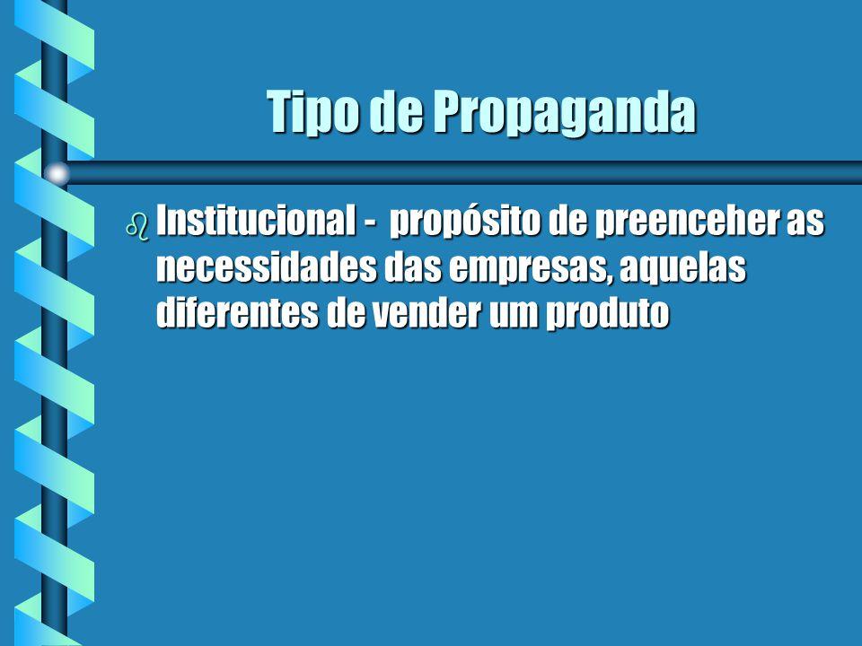 Tipo de Propaganda Institucional - propósito de preenceher as necessidades das empresas, aquelas diferentes de vender um produto.