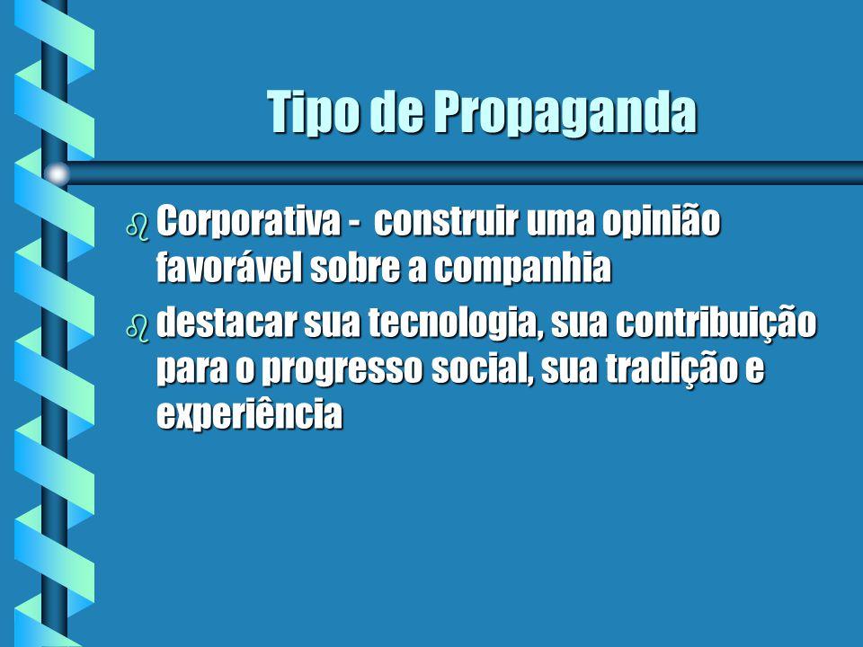 Tipo de Propaganda Corporativa - construir uma opinião favorável sobre a companhia.