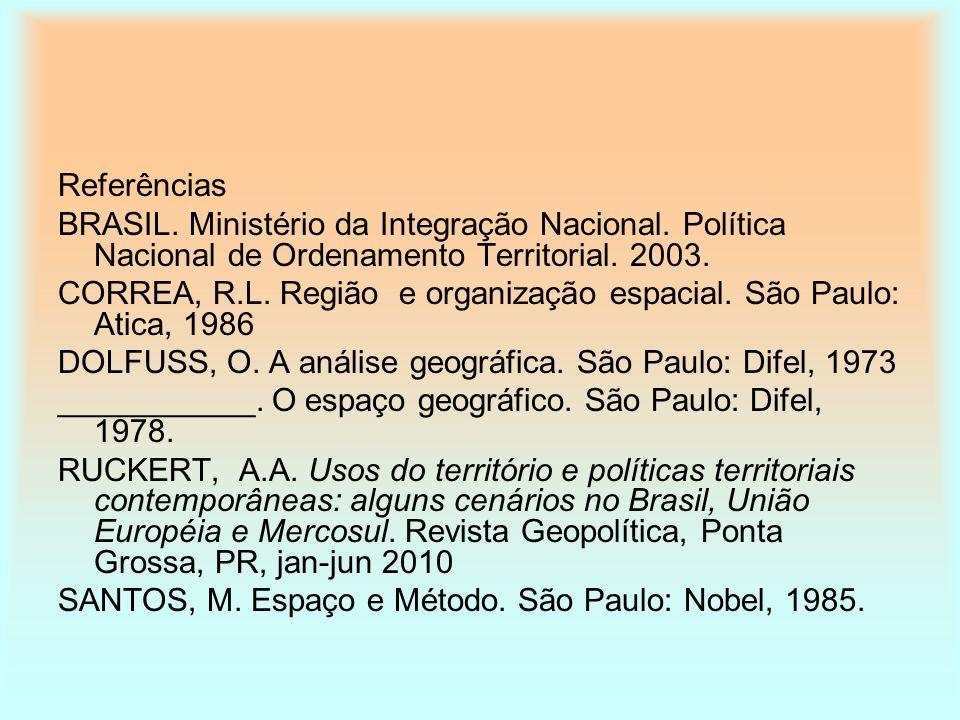 Referências BRASIL. Ministério da Integração Nacional. Política Nacional de Ordenamento Territorial. 2003.