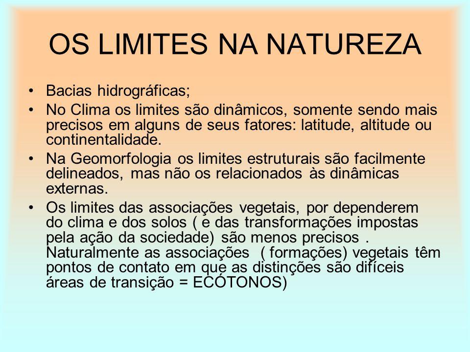 OS LIMITES NA NATUREZA Bacias hidrográficas;