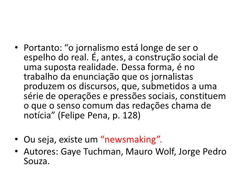 Portanto: o jornalismo está longe de ser o espelho do real
