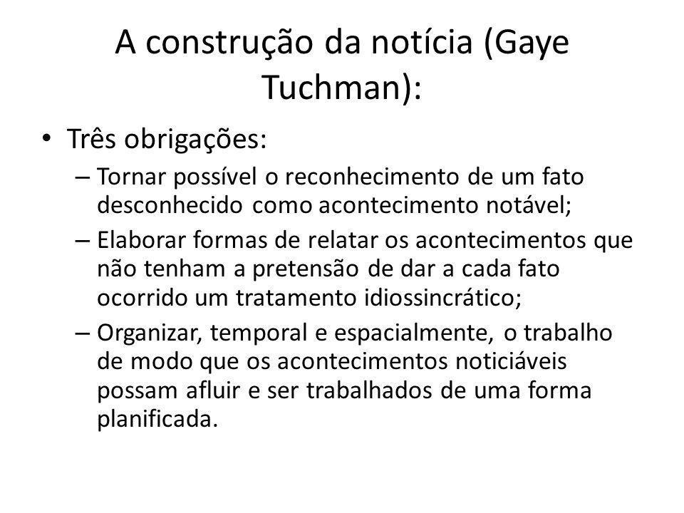 A construção da notícia (Gaye Tuchman):