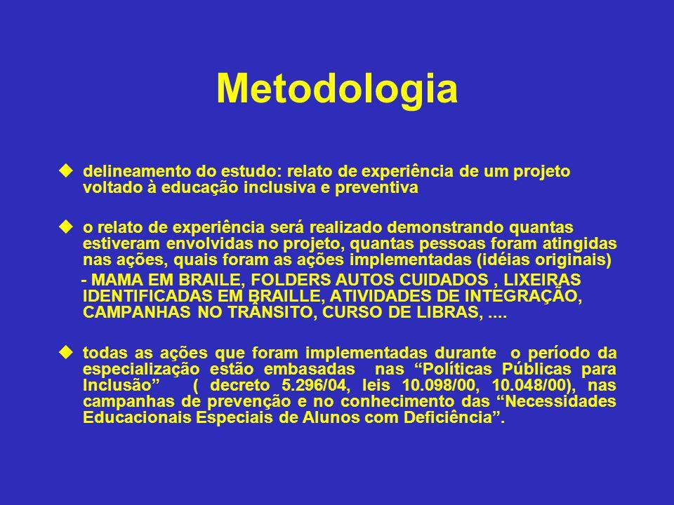 Metodologia delineamento do estudo: relato de experiência de um projeto voltado à educação inclusiva e preventiva.
