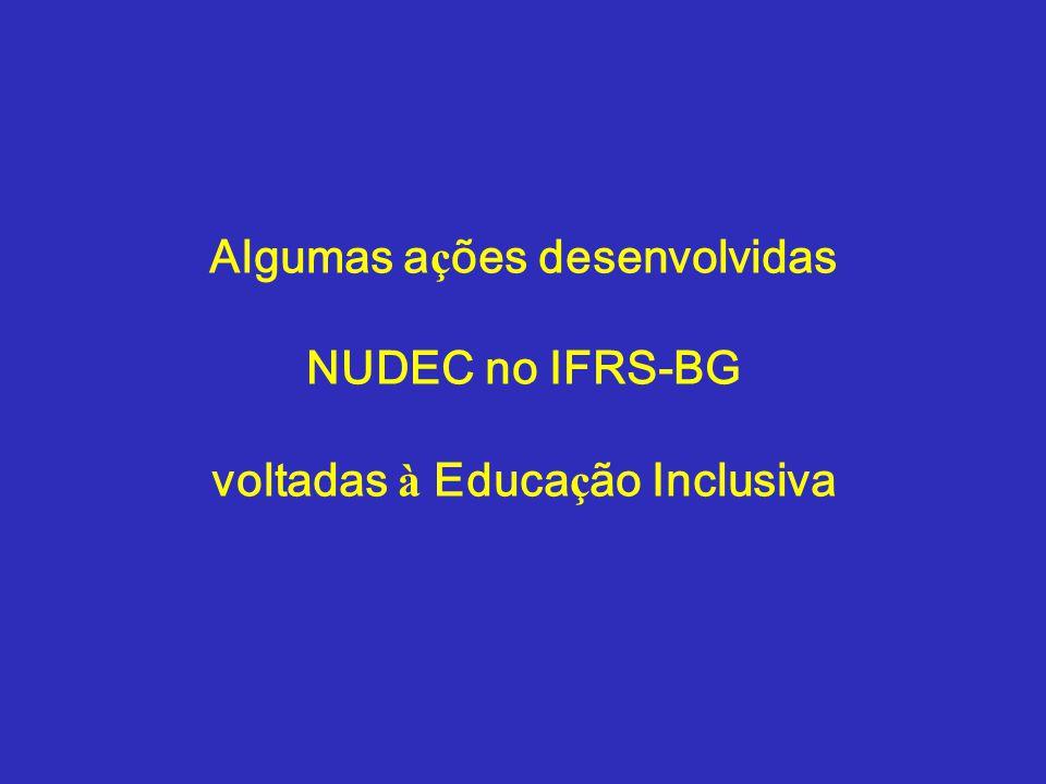 Algumas ações desenvolvidas NUDEC no IFRS-BG voltadas à Educação Inclusiva