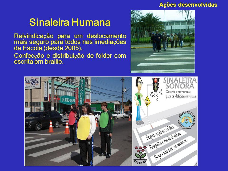Ações desenvolvidas Sinaleira Humana. Reivindicação para um deslocamento mais seguro para todos nas imediações da Escola (desde 2005).