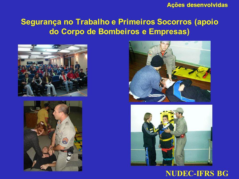 Ações desenvolvidas Segurança no Trabalho e Primeiros Socorros (apoio do Corpo de Bombeiros e Empresas)
