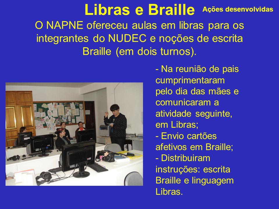 Ações desenvolvidas Libras e Braille O NAPNE ofereceu aulas em libras para os integrantes do NUDEC e noções de escrita Braille (em dois turnos).