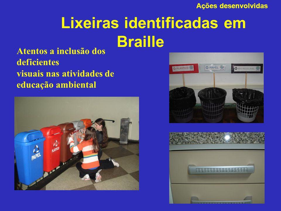 Lixeiras identificadas em Braille