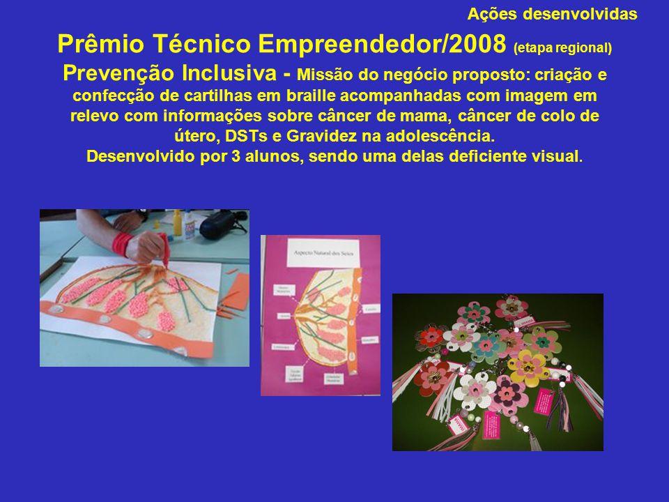 Prêmio Técnico Empreendedor/2008 (etapa regional) Prevenção Inclusiva - Missão do negócio proposto: criação e confecção de cartilhas em braille acompanhadas com imagem em relevo com informações sobre câncer de mama, câncer de colo de útero, DSTs e Gravidez na adolescência. Desenvolvido por 3 alunos, sendo uma delas deficiente visual.