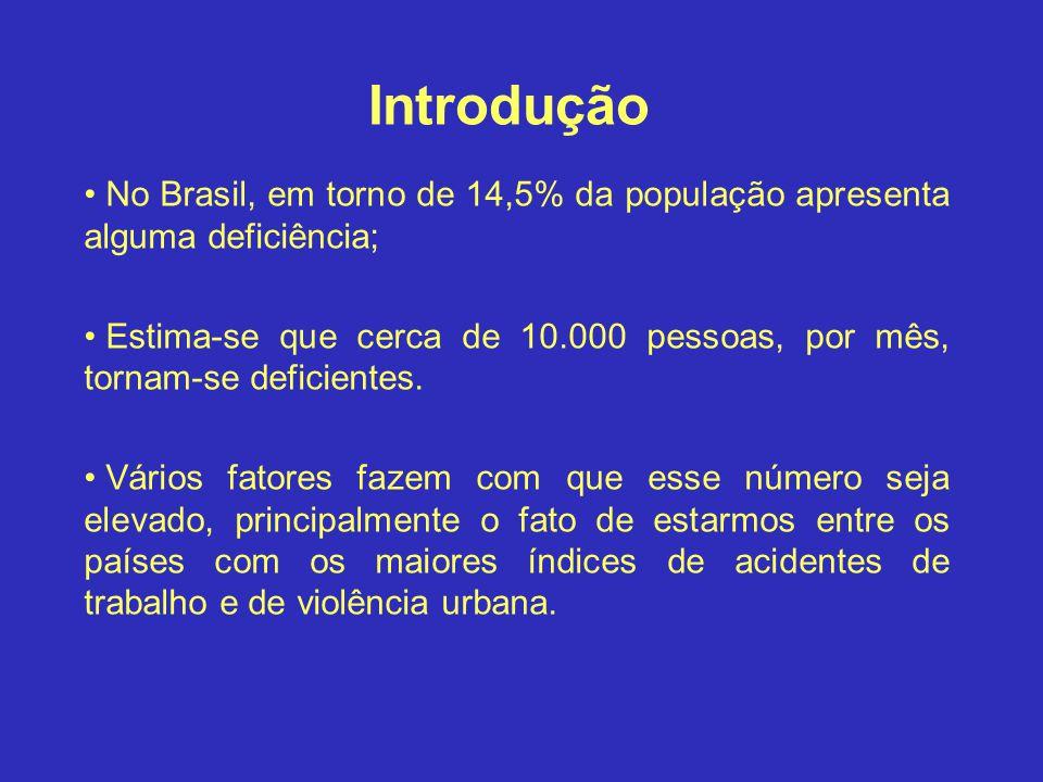 Introdução No Brasil, em torno de 14,5% da população apresenta alguma deficiência;