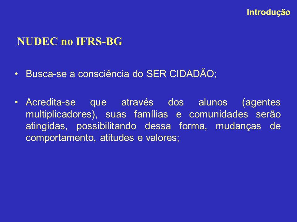 NUDEC no IFRS-BG Busca-se a consciência do SER CIDADÃO;