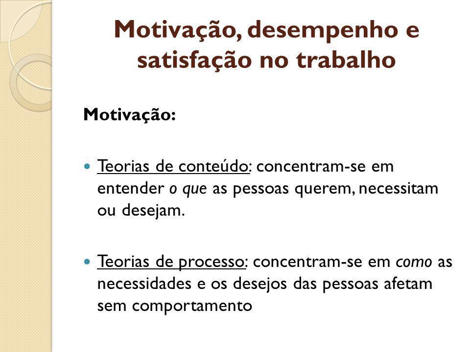 Motivação, desempenho e satisfação no trabalho