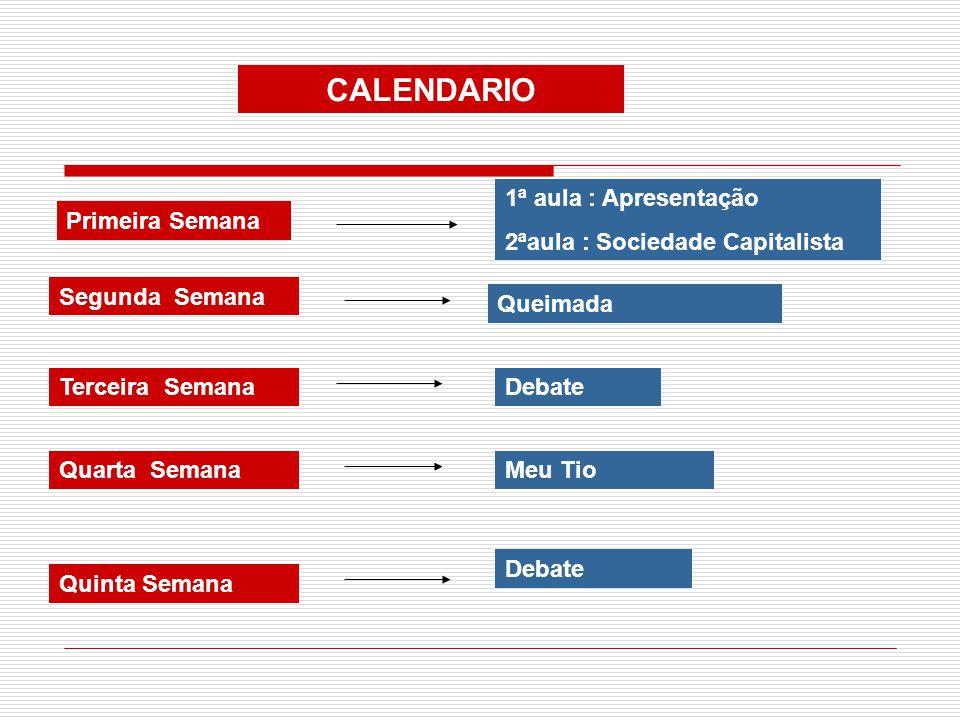 CALENDARIO 1ª aula : Apresentação 2ªaula : Sociedade Capitalista