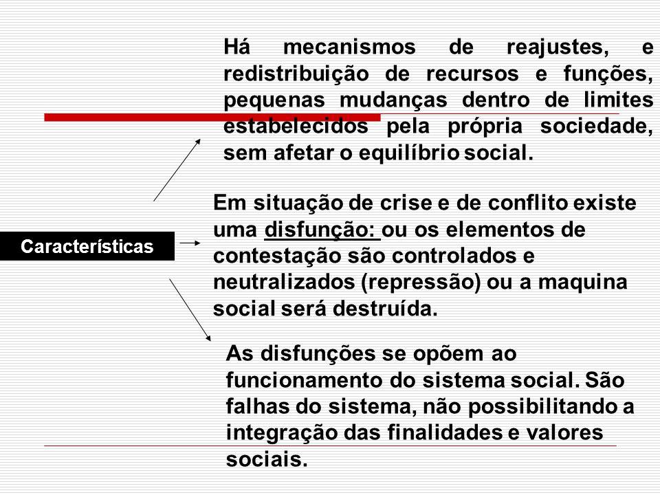Há mecanismos de reajustes, e redistribuição de recursos e funções, pequenas mudanças dentro de limites estabelecidos pela própria sociedade, sem afetar o equilíbrio social.