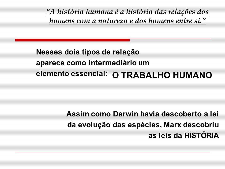 A história humana é a história das relações dos homens com a natureza e dos homens entre si.