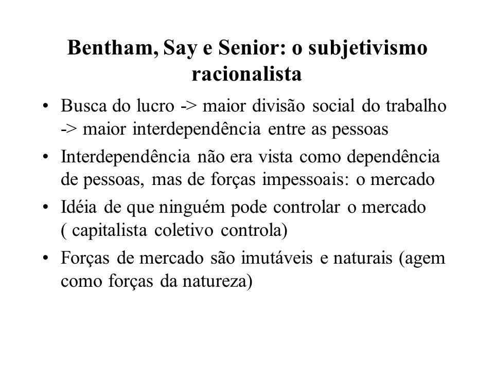 Bentham, Say e Senior: o subjetivismo racionalista