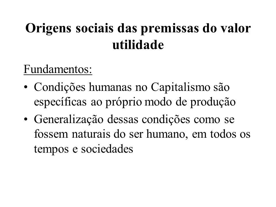Origens sociais das premissas do valor utilidade