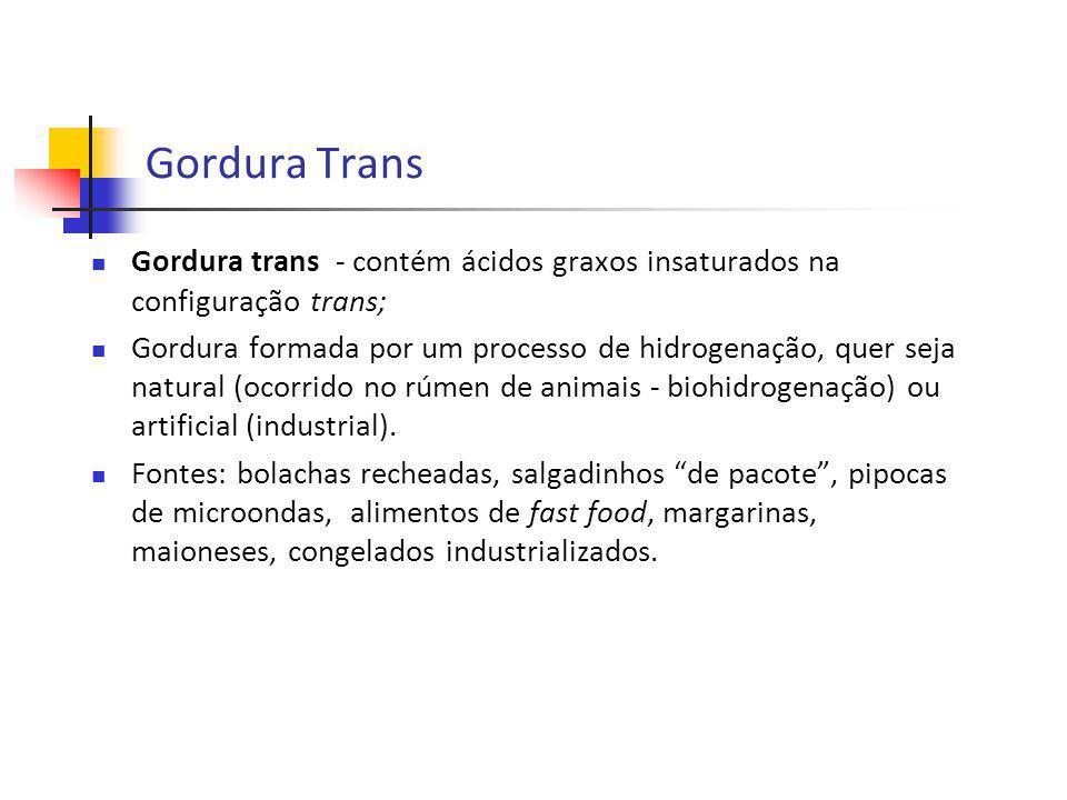 Gordura Trans Gordura trans - contém ácidos graxos insaturados na configuração trans;