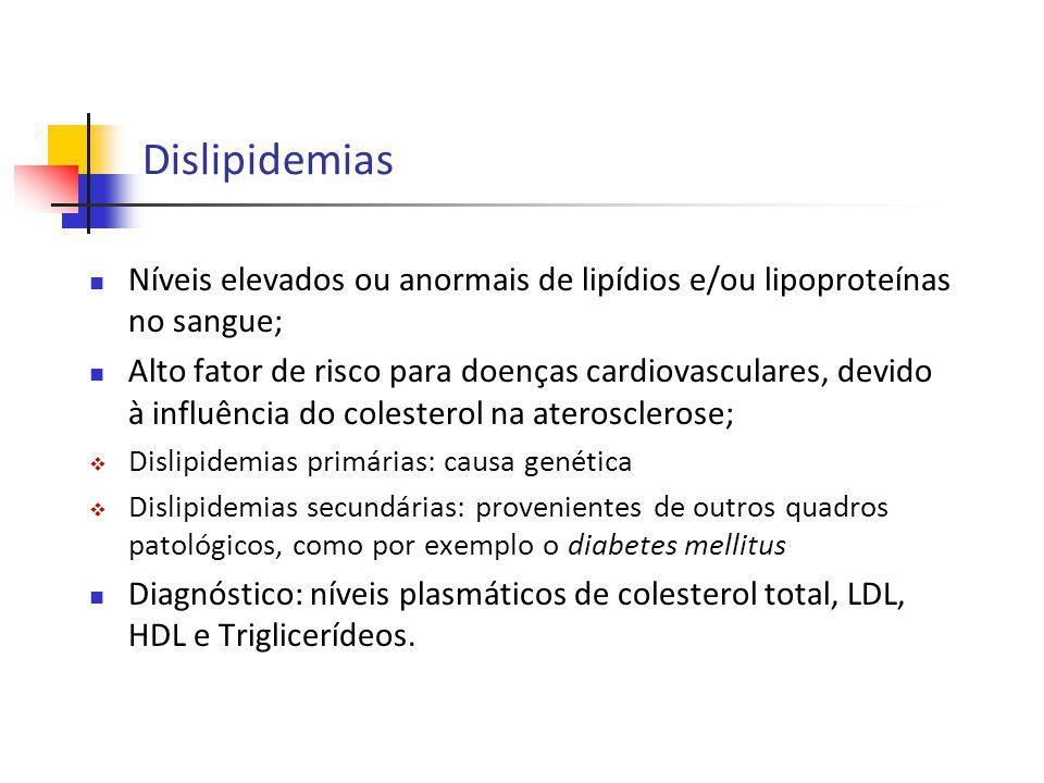 Dislipidemias Níveis elevados ou anormais de lipídios e/ou lipoproteínas no sangue;