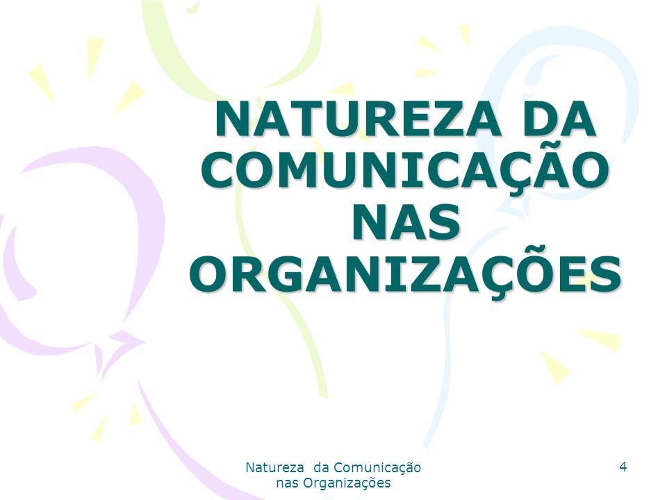 NATUREZA DA COMUNICAÇÃO NAS ORGANIZAÇÕES