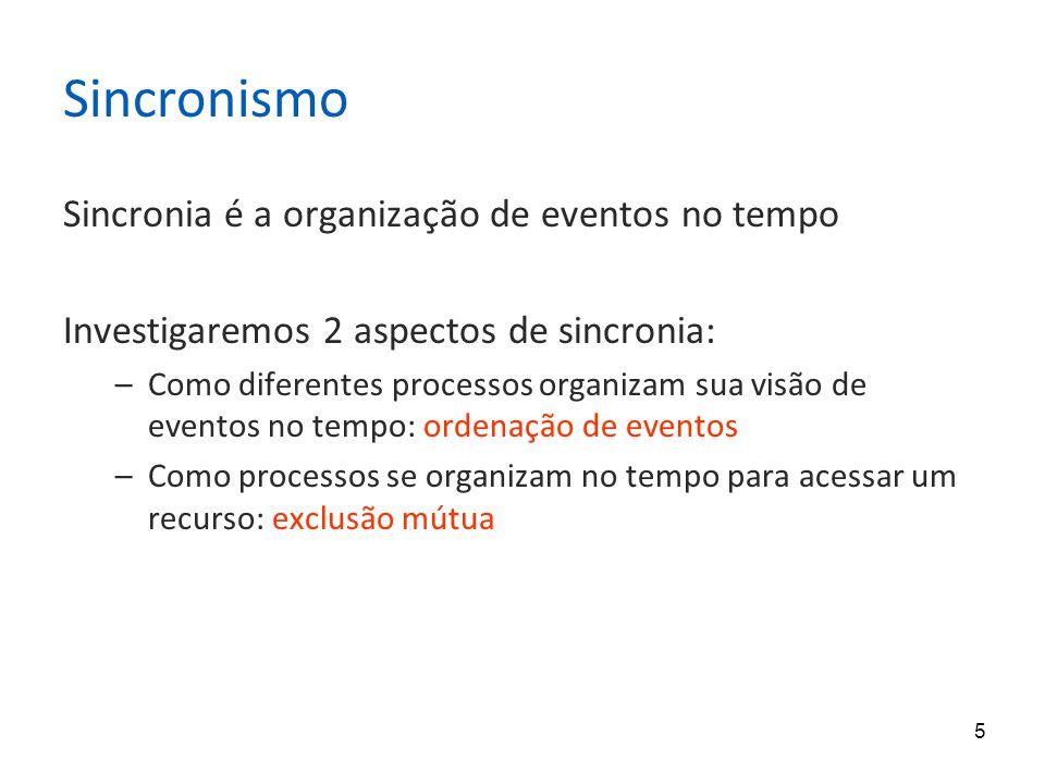 Sincronismo Sincronia é a organização de eventos no tempo
