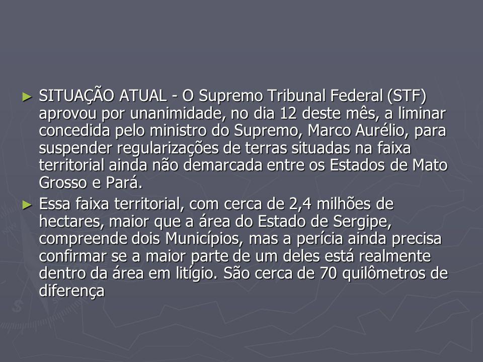 SITUAÇÃO ATUAL - O Supremo Tribunal Federal (STF) aprovou por unanimidade, no dia 12 deste mês, a liminar concedida pelo ministro do Supremo, Marco Aurélio, para suspender regularizações de terras situadas na faixa territorial ainda não demarcada entre os Estados de Mato Grosso e Pará.