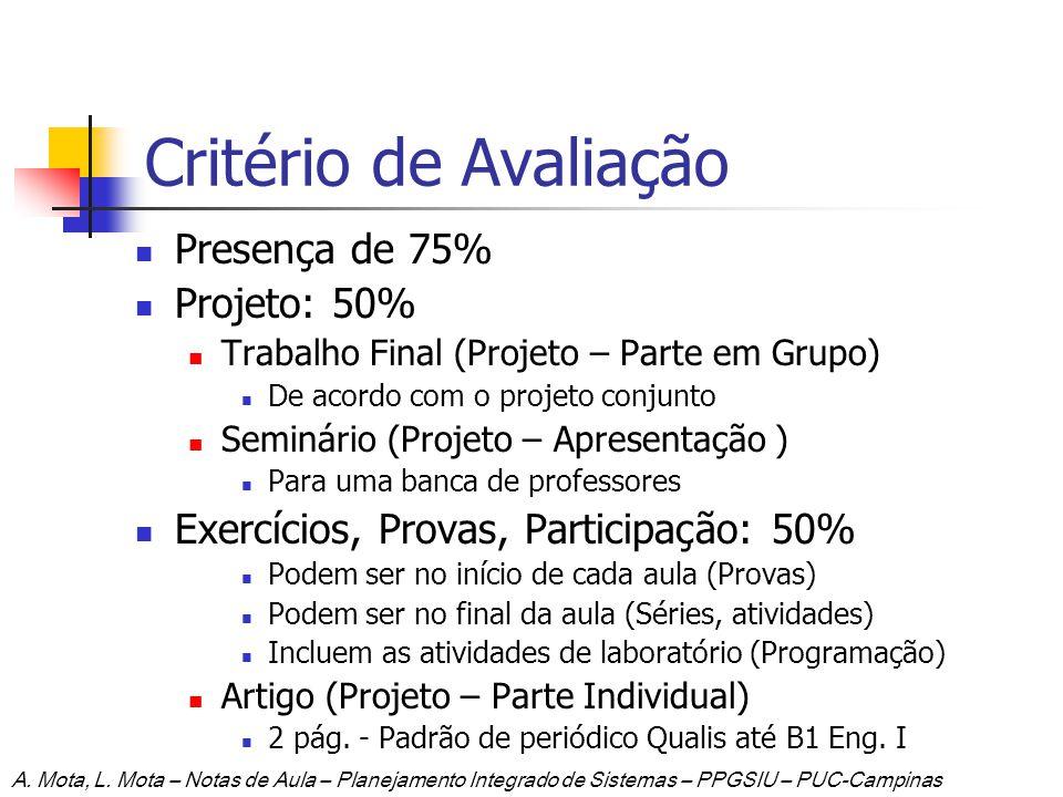 Critério de Avaliação Presença de 75% Projeto: 50%