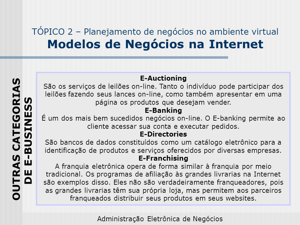 OUTRAS CATEGORIAS DE E-BUSINESS