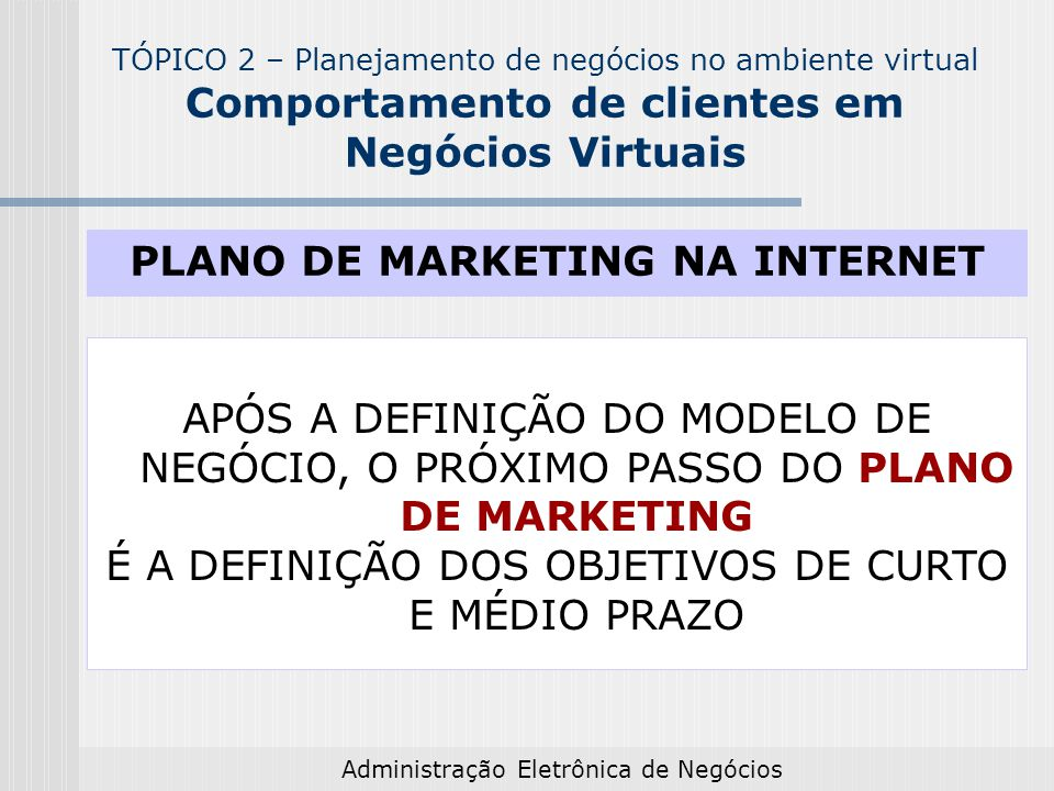PLANO DE MARKETING NA INTERNET