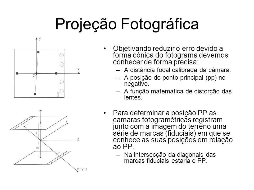 Projeção Fotográfica Objetivando reduzir o erro devido a forma cônica do fotograma devemos conhecer de forma precisa: