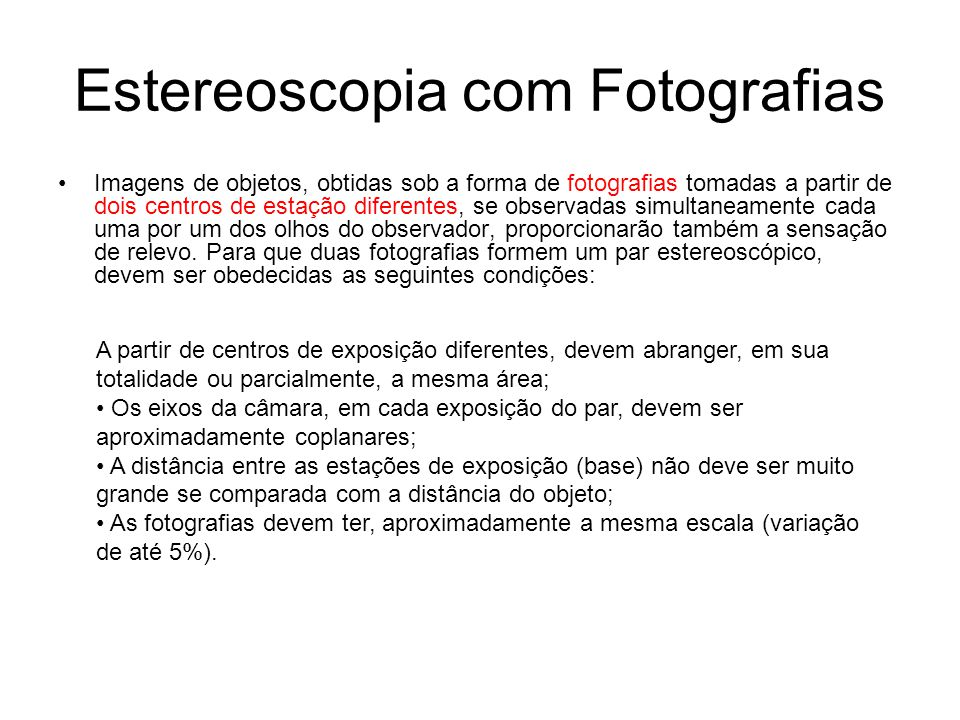 Estereoscopia com Fotografias